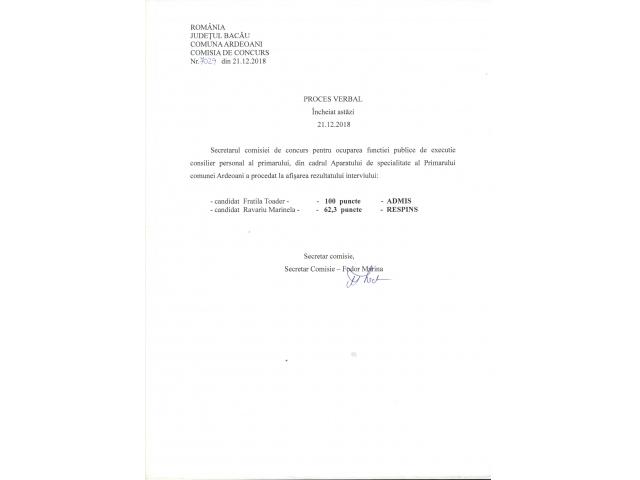 Proces verbal afisarea rezultatului de selectie dosare