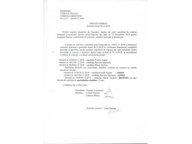 Proces verbal selectie dosare concurs pentru functiei de consilier personal al primarului